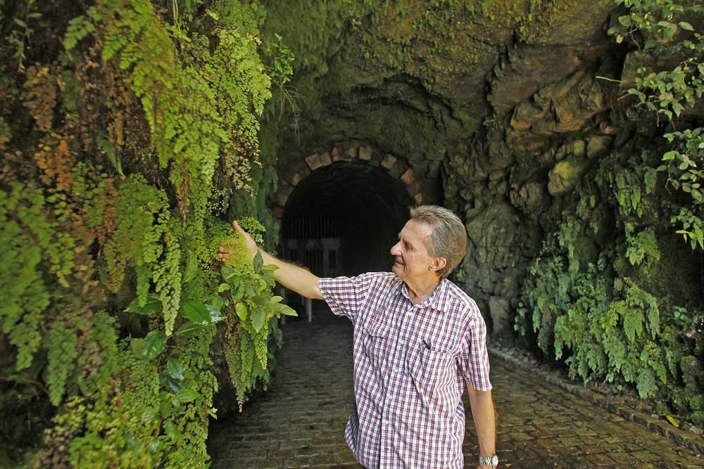 """Nas rochas da entrada do túnel crescem avencas que se assemelham a cachos de uva. Ari renomeou as plantas como """"Avencà Chardonay"""". (Foto: Jonathan Campos/GP)"""