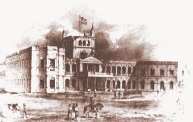 Imagem ilustrativa do Palácio de los López invadido por tropas brasileiras