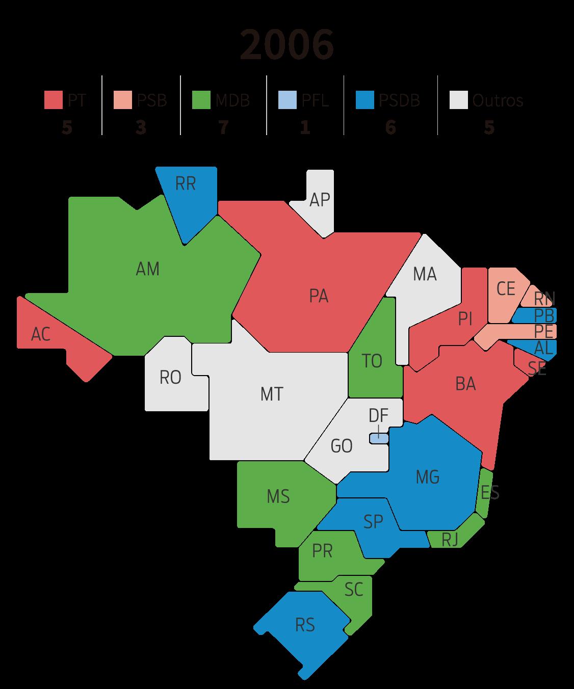 Infográfico: mapa dos governos estaduais por partido em 2006