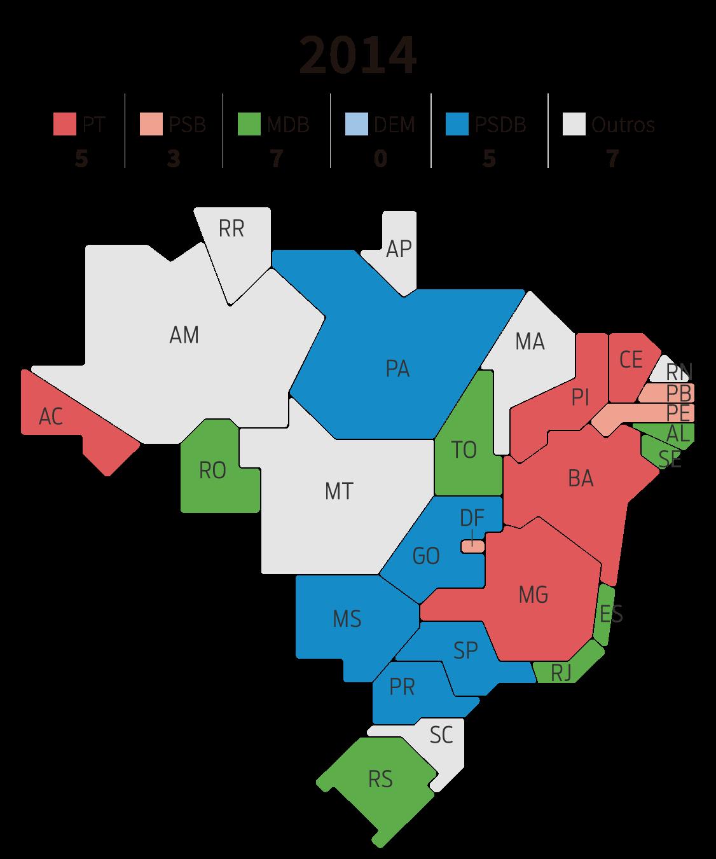 Infográfico: mapa dos governos estaduais por partido em 2014