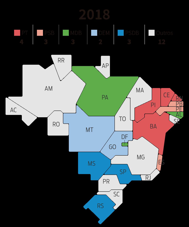 Infográfico: mapa dos governos estaduais por partido em 2018