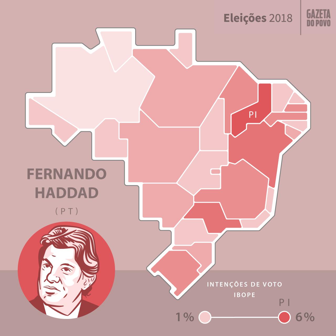 d0087ffa9b09a Mapa de intenção de votos do candidato Fernando Haddad por estado