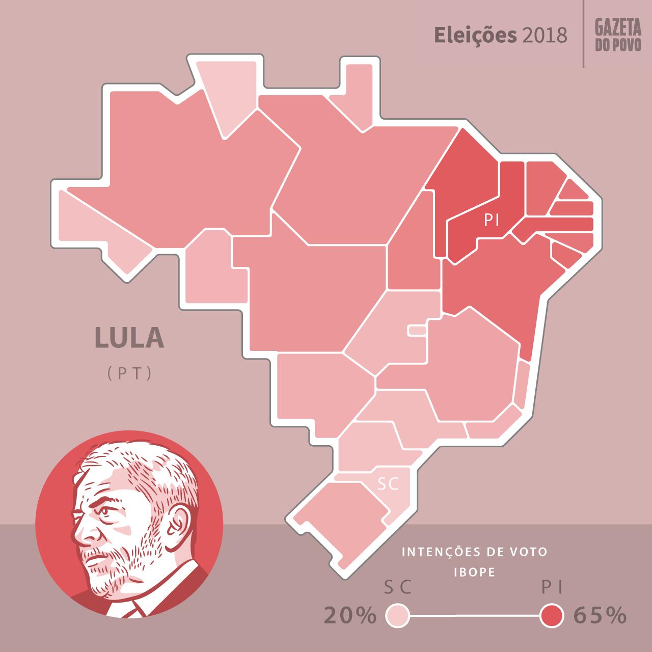 Mapa de intenção de votos de Lula nos estados, enquanto ainda era o candidato do PT, segundo pesquisa eleitoral IBOPE de agosto de 2018